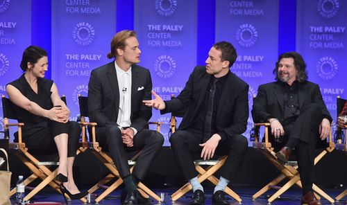 "HOLLYWOOD, CA - MARCH 12: Actors Caitriona Balfe, Sam Heughan, Tobias Menzies and executive producer Ronald D. Moore attend The Paley Center for Media's 32nd Annual PALEYFEST LA ""Outlander"" at Dolby Theatre on March 12, 2015 in Hollywood, California. (Photo by Alberto E. Rodriguez/Getty Images)"