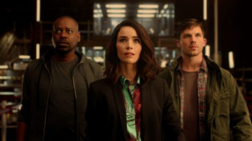 Time Travelers Abigail Spencer, Matt Lanter, and Malcolm Barrett of NBC's Timeless.
