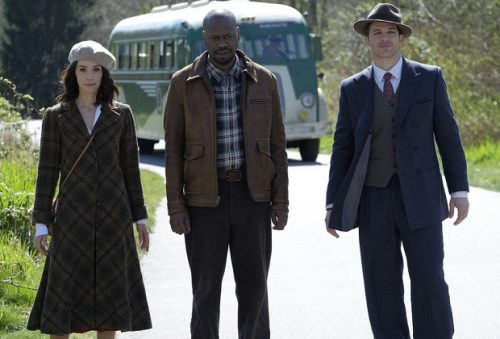 "TIMELESS -- ""Pilot"" -- Pictured: (l-r) Abigail Spencer as Lucy Preston, Malcolm Barrett as Rufus Carlin, Matt Lanter as Wyatt Logan -- (Photo by: Joe Lederer/NBC)"