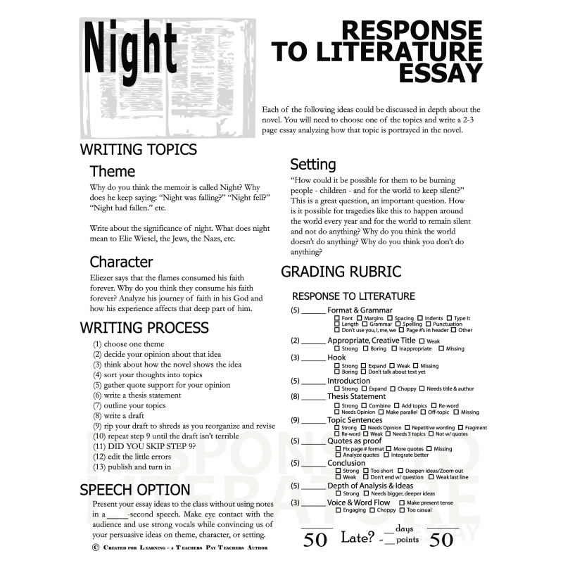 Persuasive Essay Obesity Night By Elie Wiesel Essay Prompts Poemdoc Or Why Stealing Is Wrong Essay also Long Essays Essay Test Questions For Night By Elie Wiesel  Mistyhamel Essay About Leadership Qualities