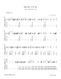 How Far I'll Go-電影《海洋奇緣》原聲鋼琴譜檔(五線譜,雙手簡譜,數位譜,Midi,PDF)免費下載