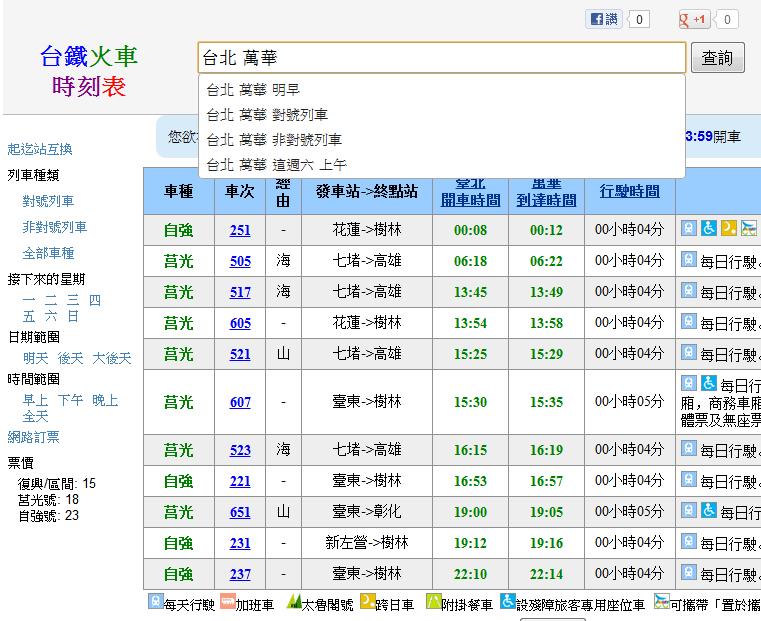 臺鐵火車時刻表
