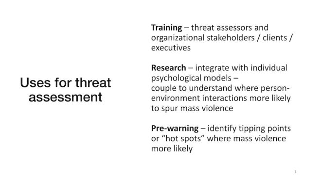 Computational modeling uses for threat assessment