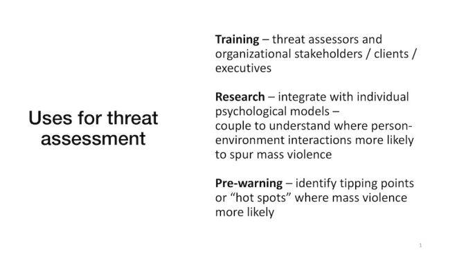 Computational modeling uses for threat assessment