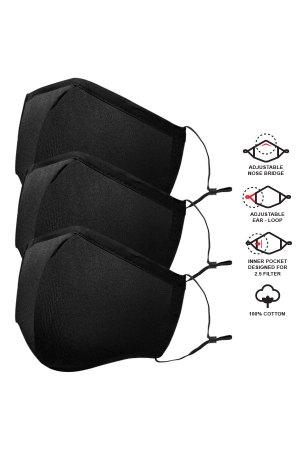 Cotton Reusable Adults Masks – Solid Black – 3 Pc. Pack