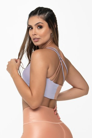 Sports Bra - Lavender & Glossy Peach