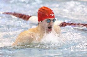 The Woodlands' Ryan Sorensen competes in the boys 100-yard breaststroke at the UIL Region IV-6A Championships on Saturday. Sorensen placed first, helping the Highlanders pick up its two wins during the meet.