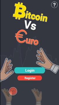 Win Bitcoins for free with Euro VS Bitcoin poster