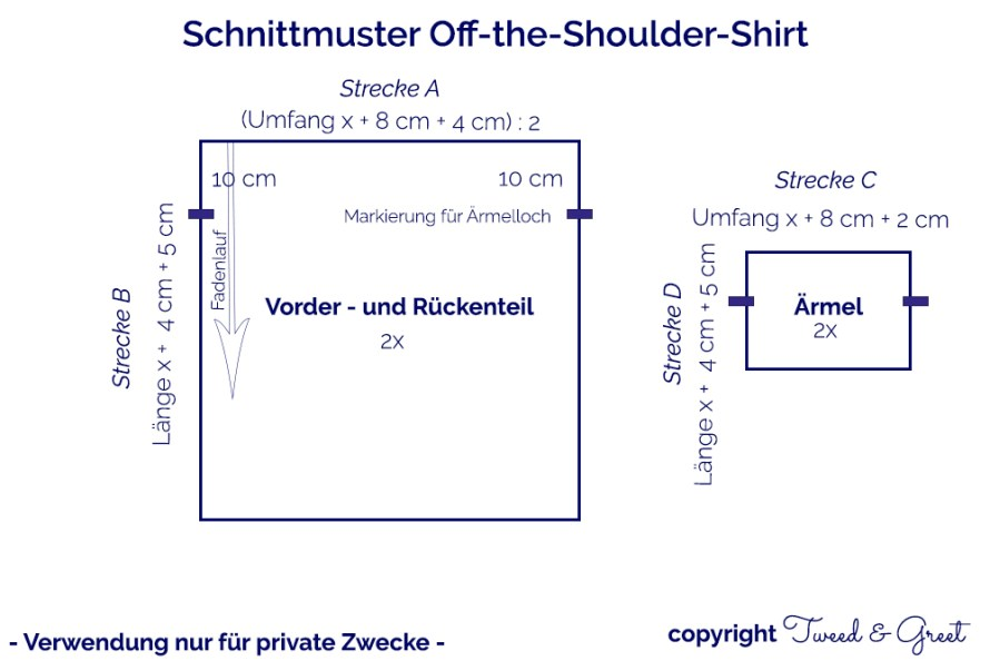 Schnittmuster Off the Shoulder Shirt by Tweed & Greet