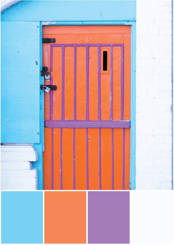 Farbpalette Farbkombination Blau Orange Lila Weiß - Tweed & Greet