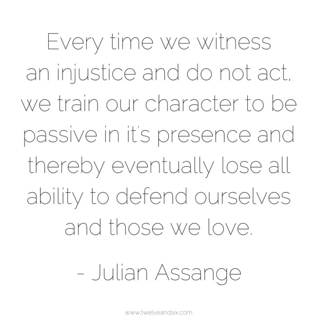 Every time we witness an injustice and do not act, we train our character to be passive in it's presence and thereby eventually lose all ability to defend ourselves and those we love.-Julian Assange