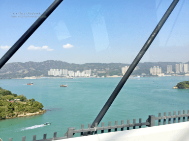 View from the bus over the bridge