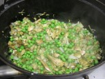 artichokes, peas, and onions
