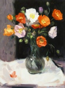 Poppies in glass swirl jar
