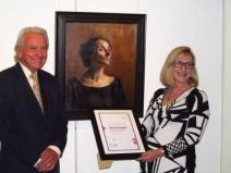 Accepting Sheri Elphick's $5,000 award in the medium of oil and/or acrylic for Portrait of Cleopatra