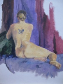 Nude with butterfly tattoo, Angela Abbott