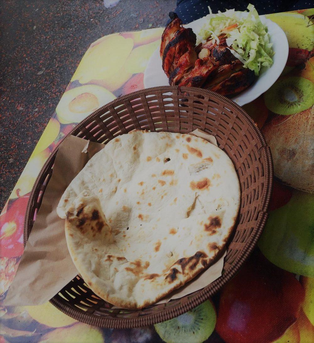 Naan and chicken tikka
