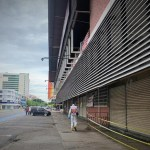 Worker santising street in Kota Kinabalu