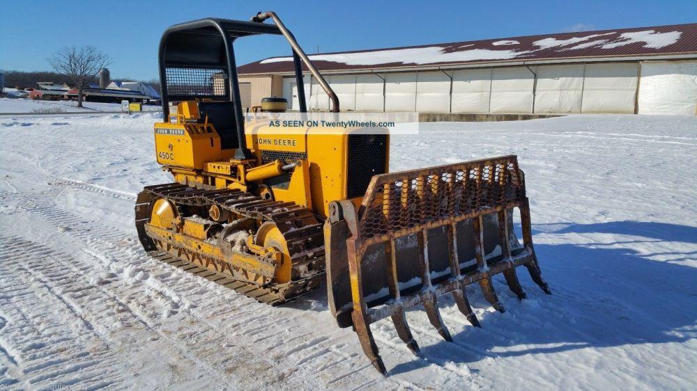 medium resolution of 1979 john deere 450cc crawler dozer tractor diesel engine orops root rake blade