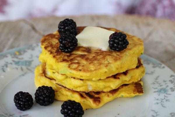 Zucchini Pancakes with wild blackberries
