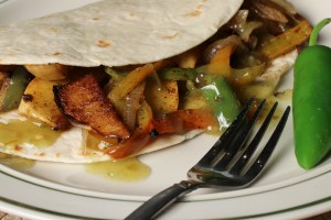 Fajitas made with Tromboncini Squash