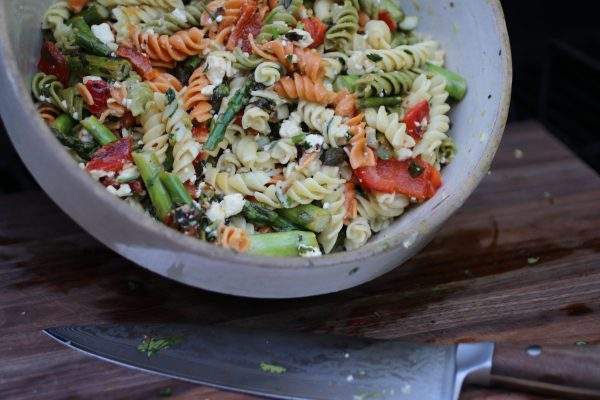 Tricolor rotini pasta, grilled lemon asparagus, roasted red pepper