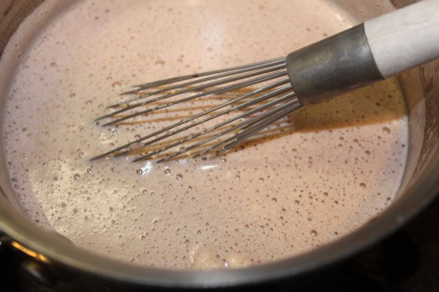 A simmering pot of Vermont Hot Chocolate with Maple