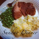 White plate with a pile of pea, slice of ham, and mound of Hashbrown Casserole