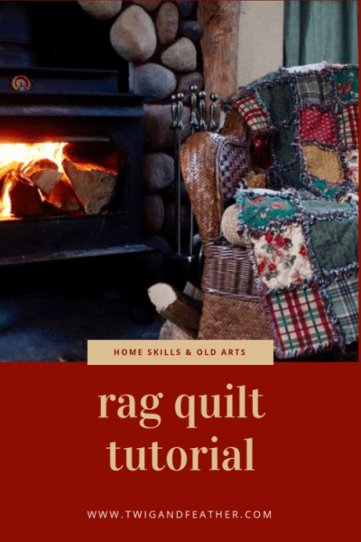 Cozy scene of a rag quilt-draped chair sitting next to a wood stove