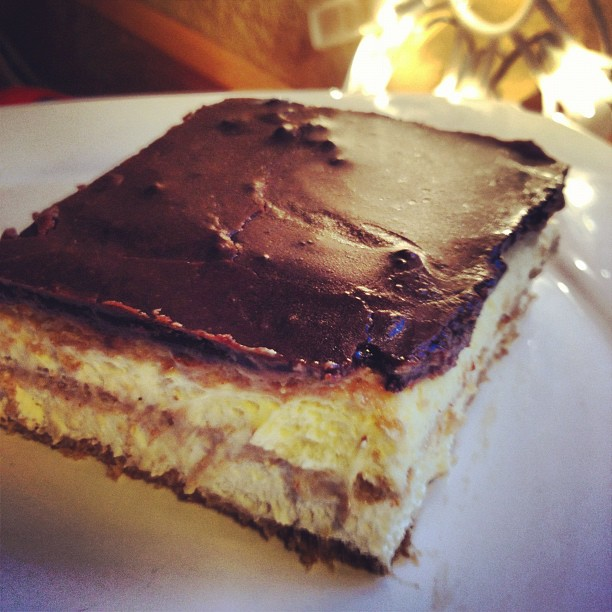 a slice of chocolate graham cracker eclair cake