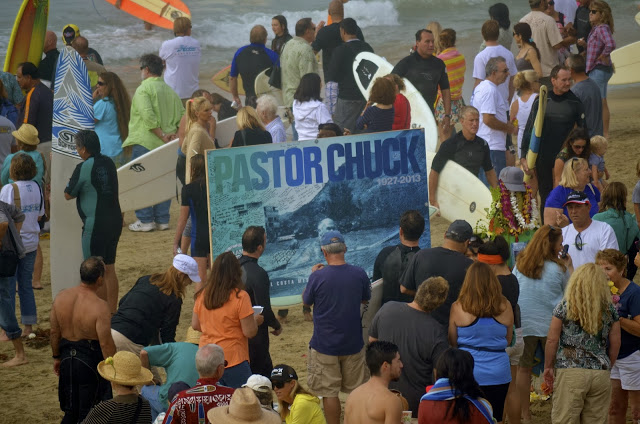 Pastor Chuck's paddle out