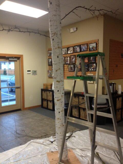 photo of a faux birch tree