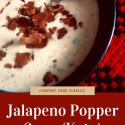 Bowl of jalapeño popper soup on red and black checkered cloth