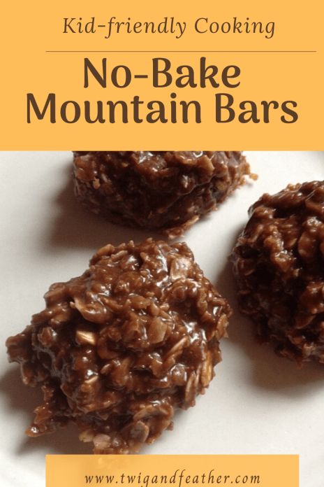 Three mounds of no-bake mountain bars