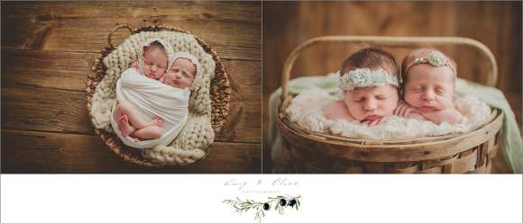 twins, rustic, baskets, bonnets, swaddled, angels, cherubs, newborns, Madison, Milwaukee, WI