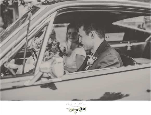 old car wedding photo