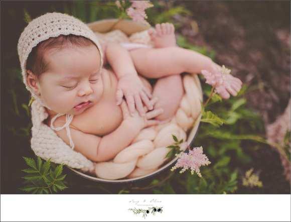 bonnet, baskets, wraps, flowers, greenery, joy, bliss, cherub, Twig and Olive Newborn photography