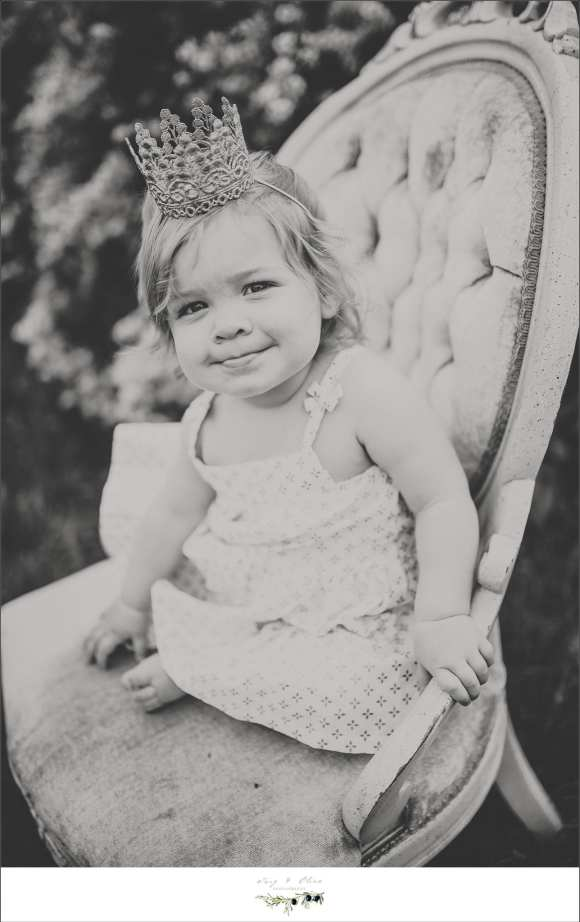 madison mini, family sessions, black and white, crown, dress, chair, Twig and Olive