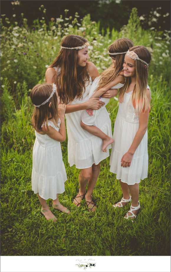 white dresses, hair flowers, outdoor sessions, happy families, four girls, big family, sandals, smile, happy family, twig and olive