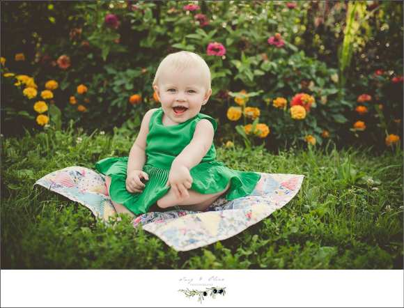 baby, blanket, green dress