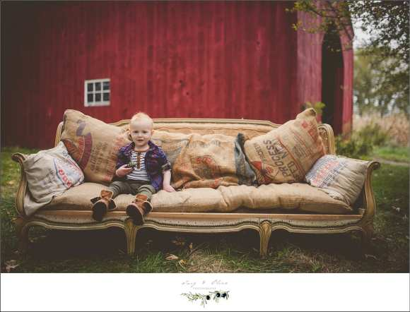 couch and red barn