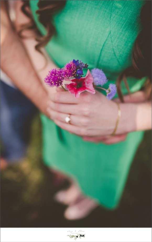 green dress purple flowers