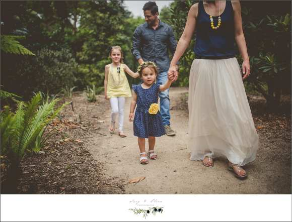 blue dress yellow flower family walk