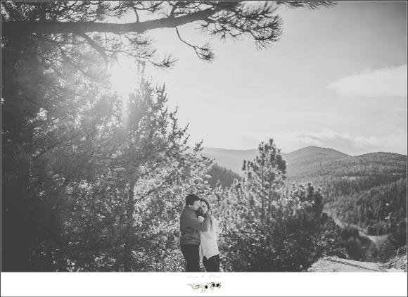 engagement session in the woods of colorado