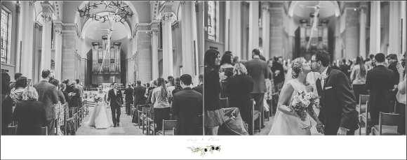 exiting church on wedding day