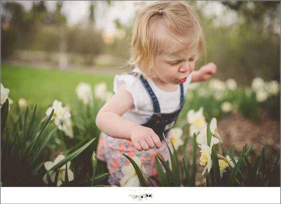 playing in the flowers