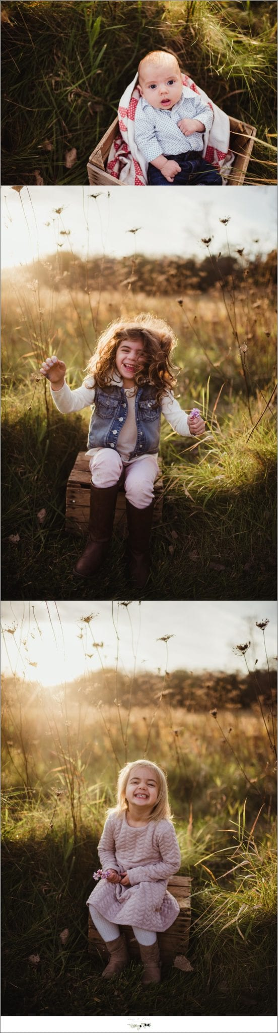 Family session in a field