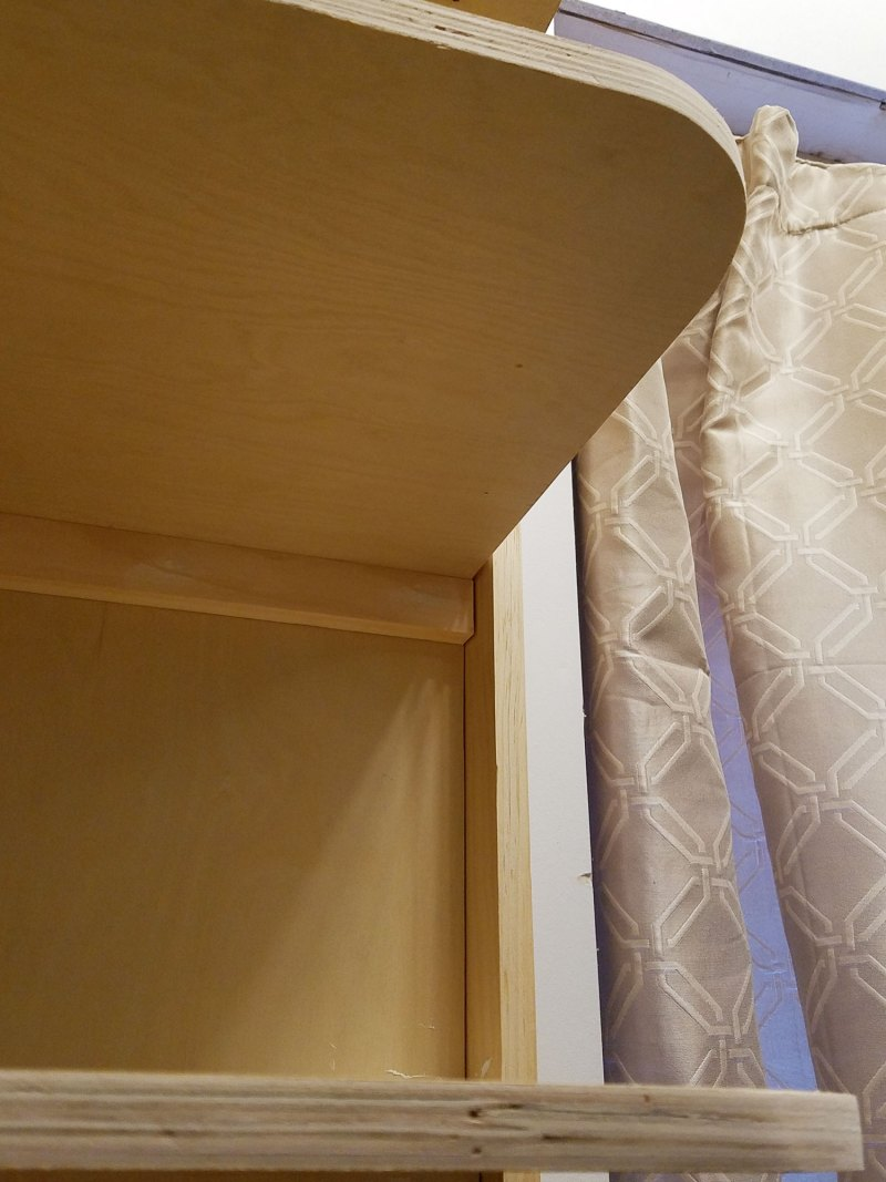 detail of custom shelving with cabinet grade plywood