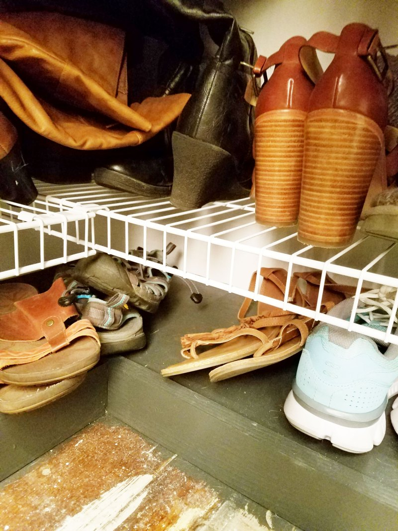 shoe shelf complete in closet