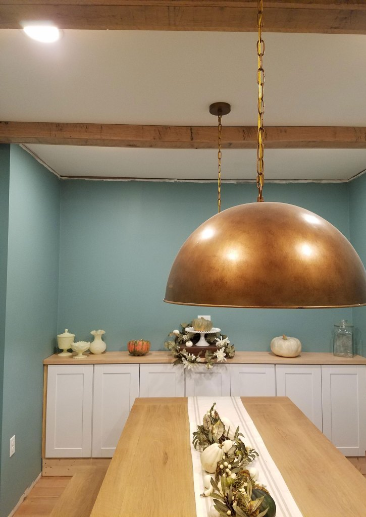 faux beams in dining room